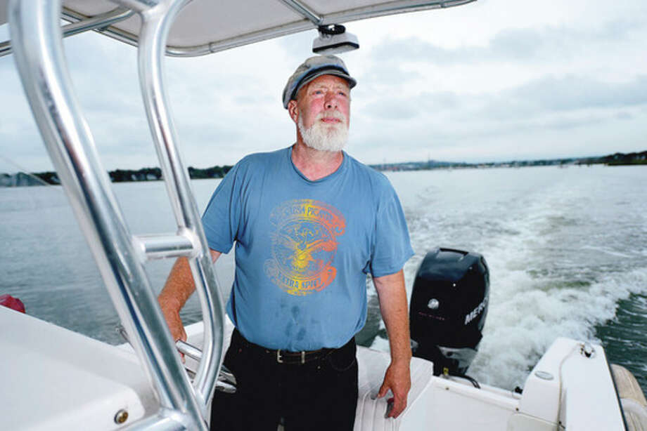 Soundkeeper Terry Backer marking 25 years of protecting Long Idsland Sound.Hour photo / Erik Trautmann / (C)2012, The Hour Newspapers, all rights reserved
