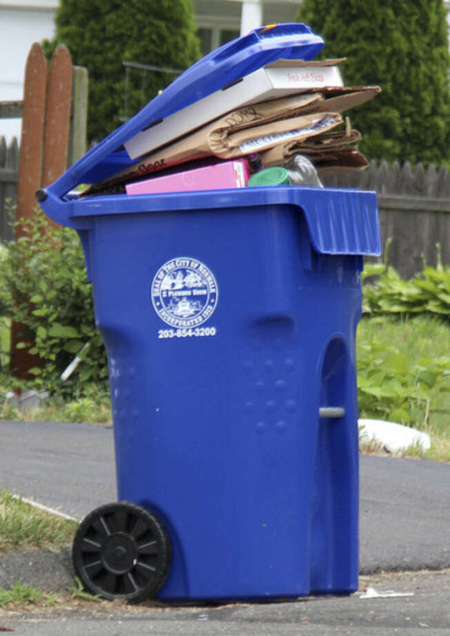 Hour photo / Chris BosakOne of the new large single-stream recycling bins in Norwalk.