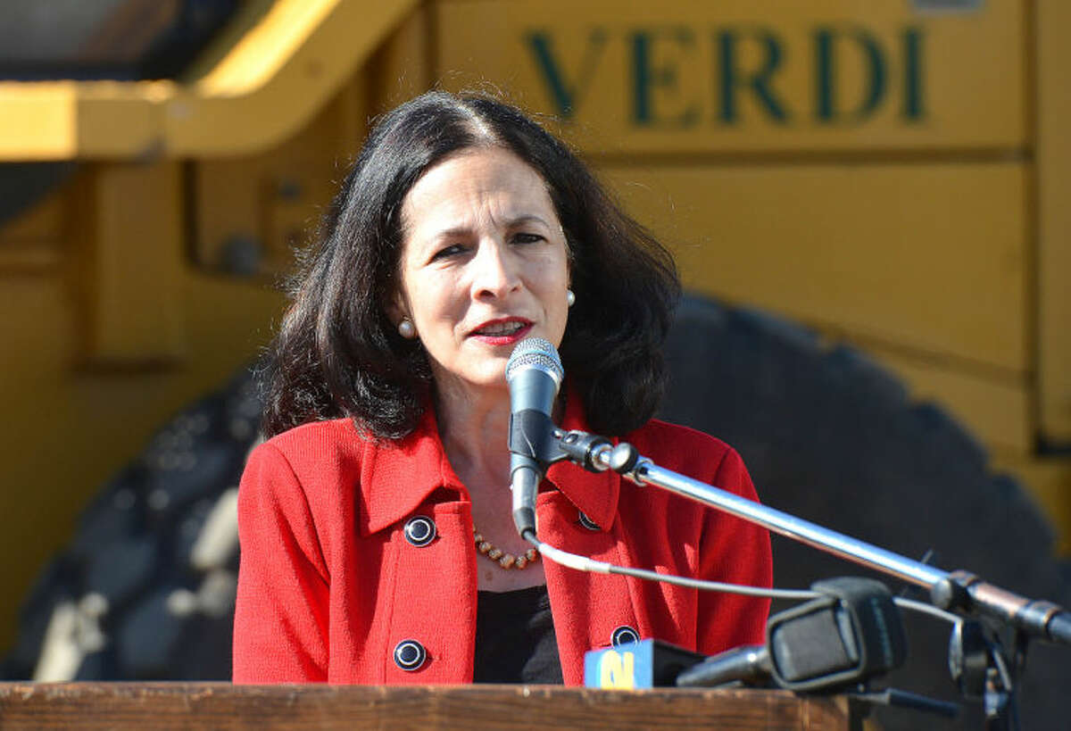 Hour Photo/Alex von Kleydorff State Rep Gail Lavielle speaks during the Groundbreaking at The Levitt Pavilion for the Performing Arts in Westport on Monday.