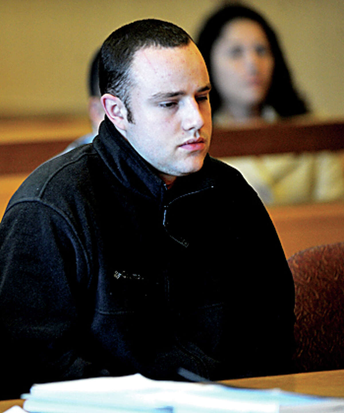 Aaron Ramsey of Wilton is found not guilty by reason of mental disease or deficiency by a three-judge panel during a verdict reading at state Superior Court in Stamford on Wednesday, December 12, 2012. Ramsey was on trial for beating his father, Edward, to death in May after Ramsey allegedly heard voices.