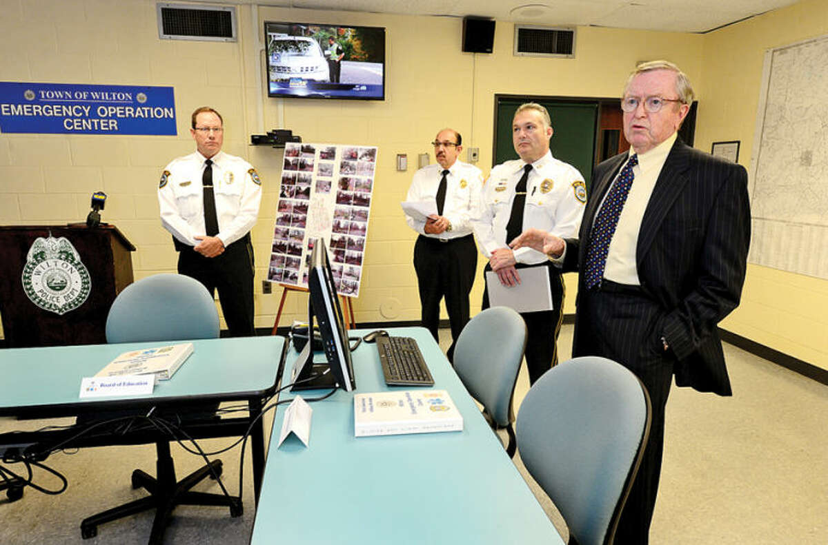 Wilton First Selectman Bill Brennan and the Wilton police and fire departments hold a press conference to explain improvements to the department's Emergency Operations Center. Improvements like resource monitoring displays are expected to improve storm management capabilities and communications.