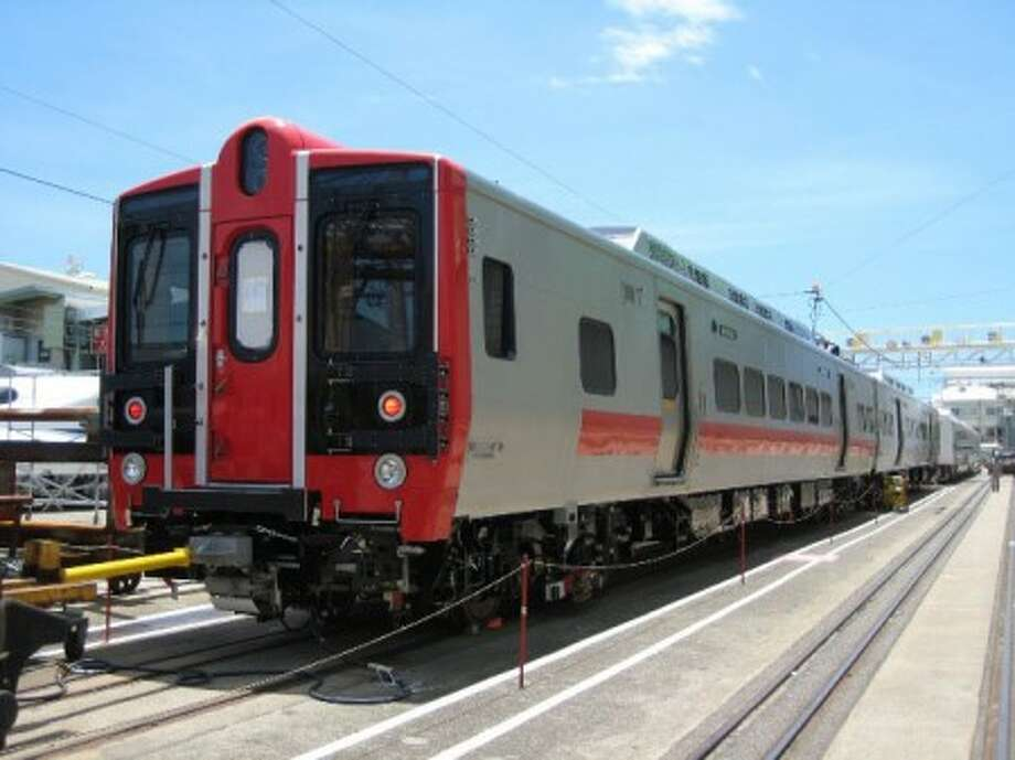 New M-8 rail cars launch from Stamford