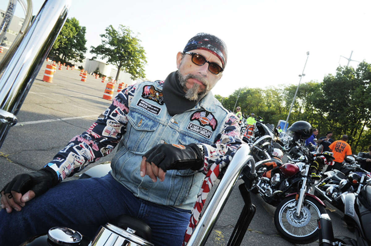 Chuck Yohe on his Harley Road King Sundaty at the Connecticut United Ride. Hour photo/Matthew Vinci