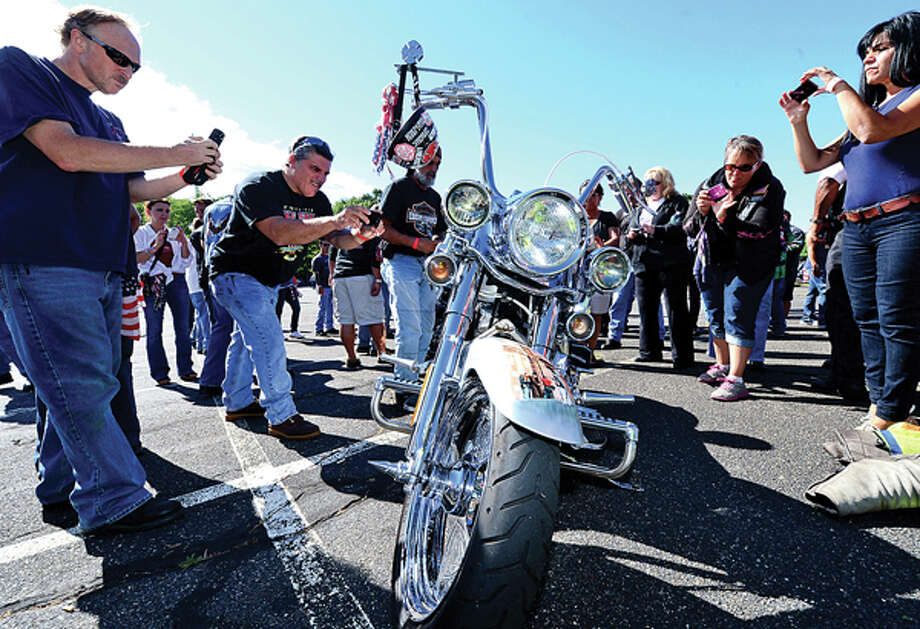 Enthusiasts gather for 12th annual The United Ride tribute at Norden Park where motorcyclists ride to benefit first responders and families affected by 9/11. Hour photo / Erik Trautmann / (C)2012, The Hour Newspapers, all rights reserved