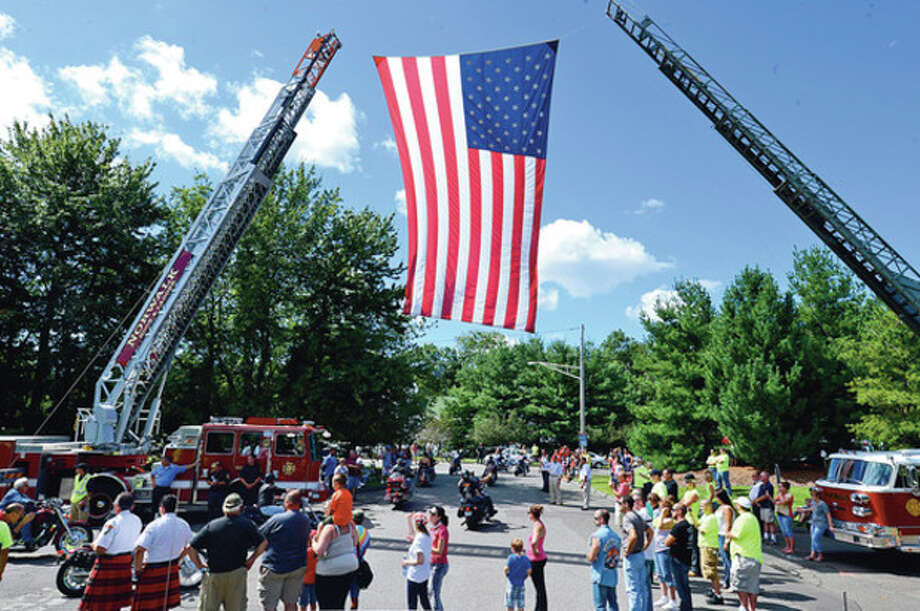 The United Ride tribute started out from Norden Park Saturday for the 12th annual motorcycle ride to benefit first responders and families affected by 9/11.Hour photo / Erik Trautmann / (C)2012, The Hour Newspapers, all rights reserved