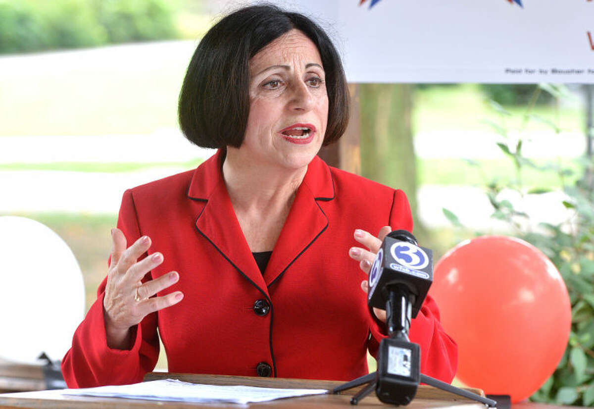 Hour Photo/Alex von Kleydorff . State Senator Toni Boucher announces she is exploring a run for Governor, announcing her plans from her hometown of Naugatuck on Tuesday morning