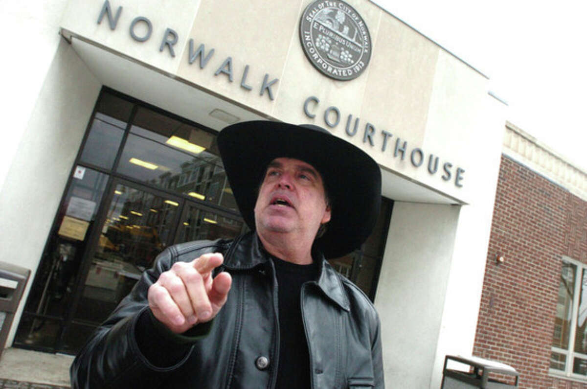 Scott Merrell leaves the Norwalk Courthouse on Wednesday. hour photo/ matthew vinci