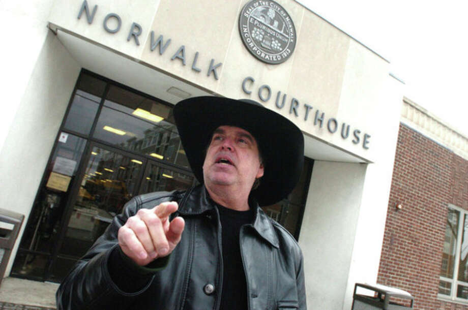 Scott Merrell leaves the Norwalk Courthouse on Wednesday. hour photo/ matthew vinci