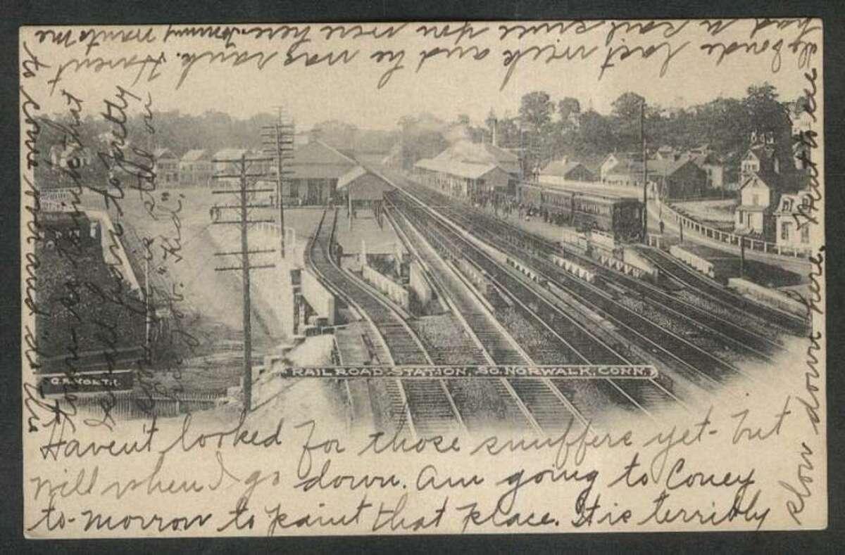 Railroad Station South Norwalk CT undivided back postcard 1905