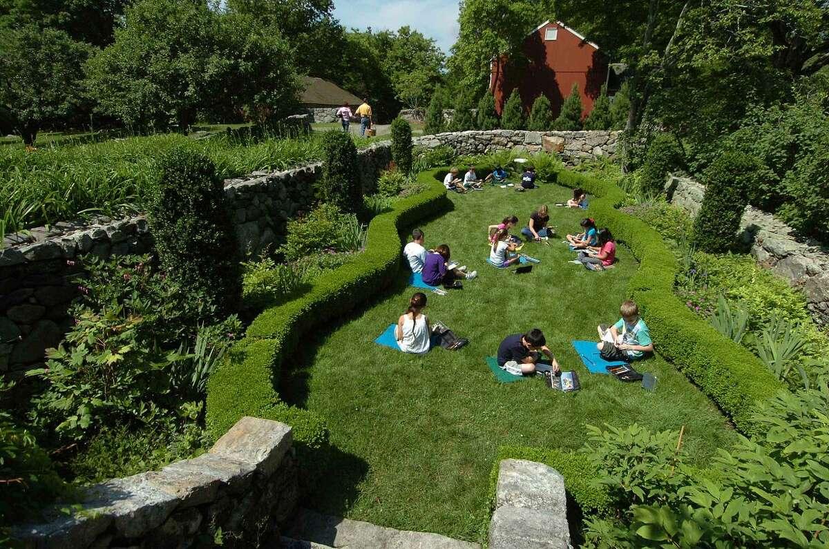 Children paint in the Sunken Garden
