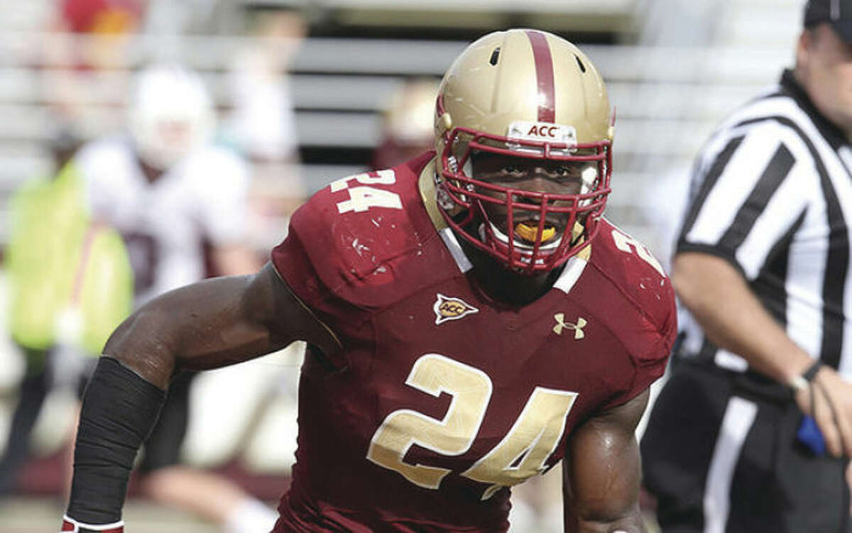 Hour file photo Boston College linebacker Kevin Pierre-Louis pursues an opponent during a game last fall. At one point, it was thought the Norwalk resident might be headed for the NFL by now, but he's preparing for his senior year after injuries slowed him as a junior.