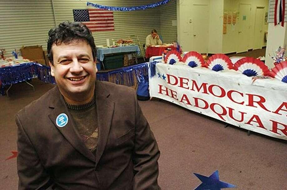 Norwalk Mayoral candidate Steve Serasis at the Democratic Headquarters on Monday night/hour photo matthew vinci