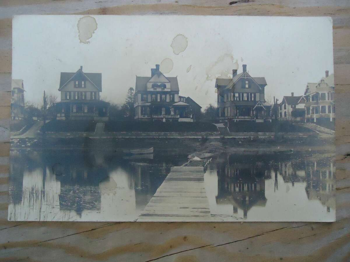 Vintage Postcard, Houses on water, dock boat, South Norwalk Connecticut 1906