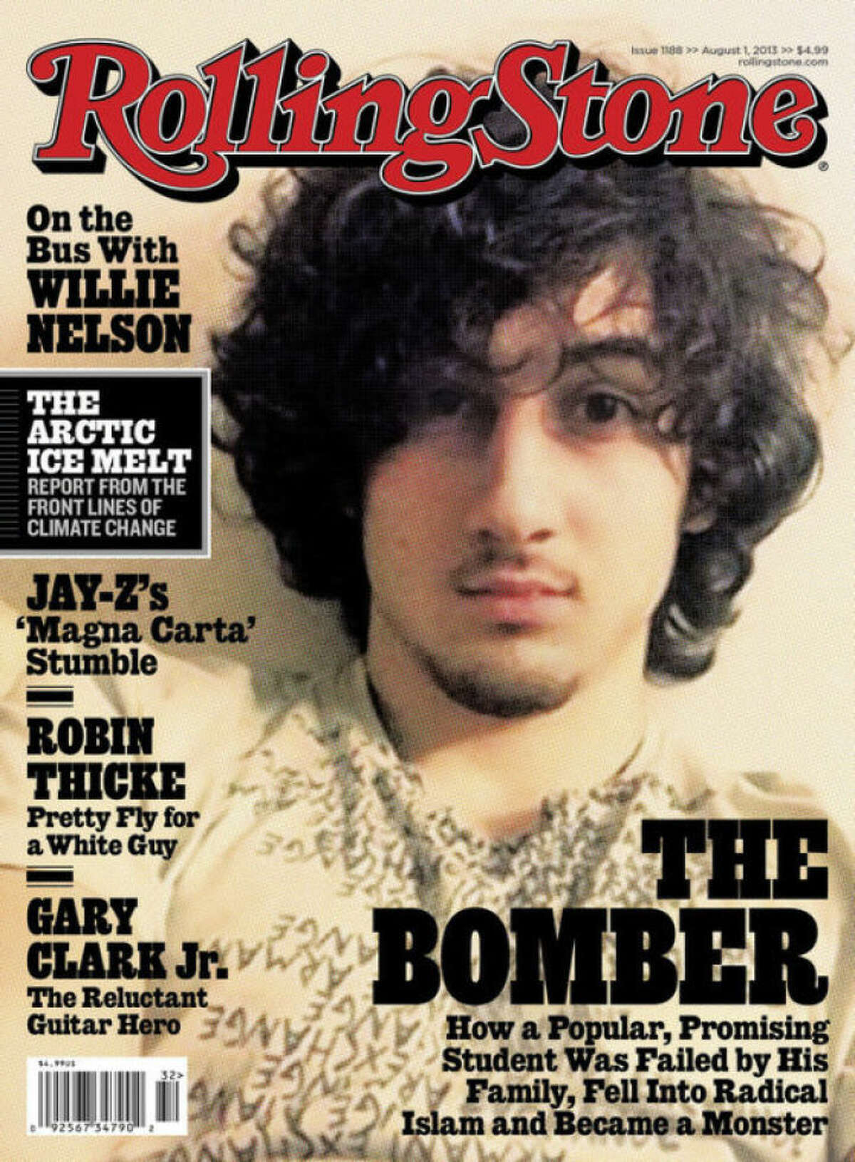 """In this magazine cover image released by Wenner Media, Boston Marathon bombing suspect Dzhokhar Tsarnaev appears on the cover of the Aug. 1, 2013 issue of """"Rolling Stone."""" (AP Photo/Wenner Media)"""