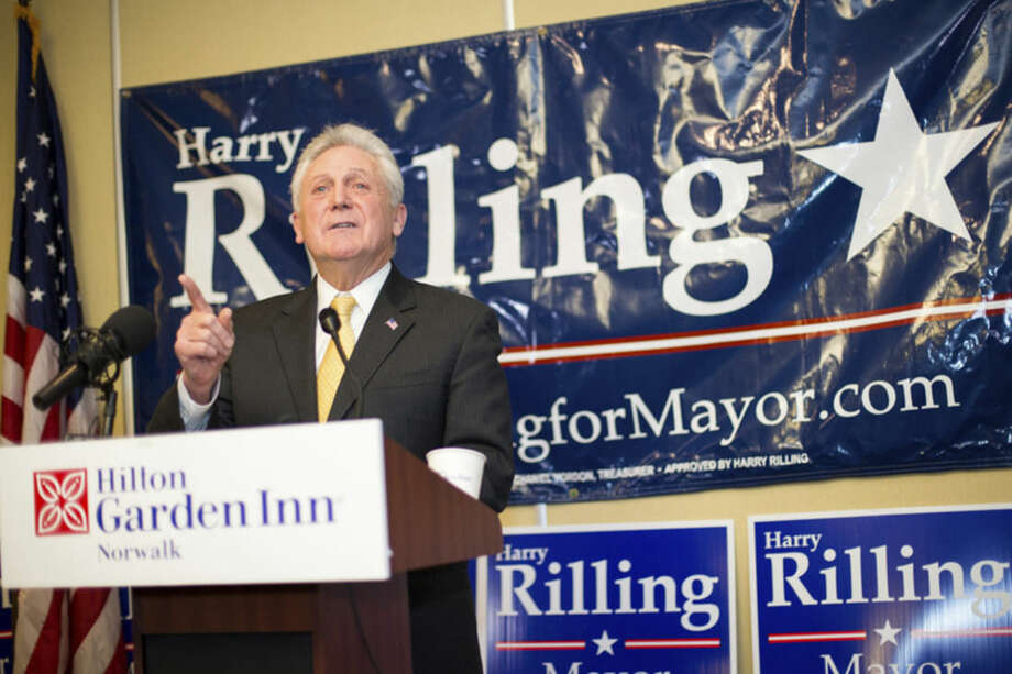 Hour photo/Chris PalermoNorwalk Mayor Harry Rilling announces his re-election campaign Sunday afternoon at the Hilton Garden Inn.