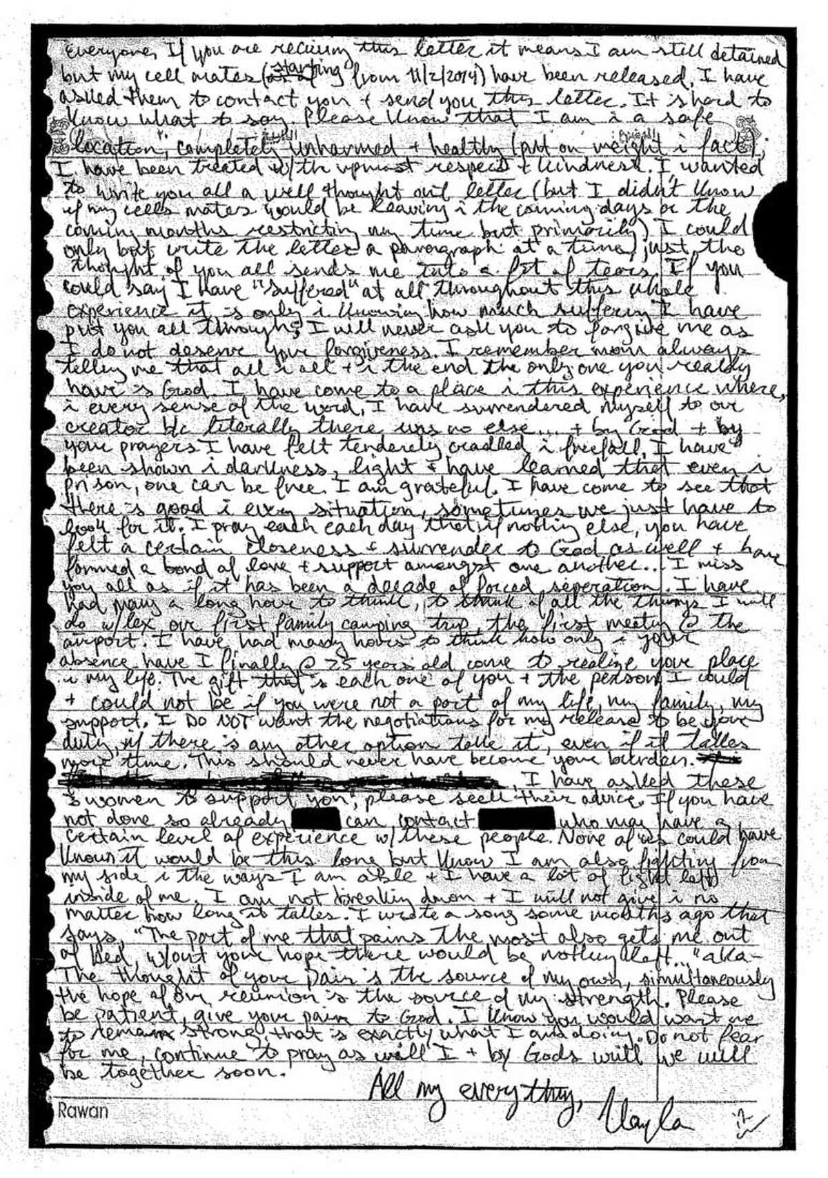 This image provided by the Mueller family shows a photocopy of a letter the family says was written to them by Kayla Jean Mueller in spring 2014. The family said Tuesday, Feb. 10, 2015, it had received confirmation that Mueller died while being held by Islamic State militants. (AP Photo/Courtesy of the Mueller family)