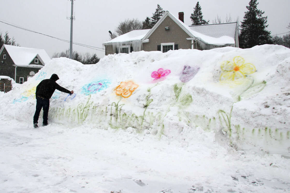 William Green, 25, spray paints flowers onto a snow bank in the parking lot of Genrich's Garden Center where he works in Irondequoit, New York. This has been one of the coldest Februarys on record in the region with frigid temperatures and more snowfall forecasted for the coming week, according to the National Weather Service. (AP Photo/Ted Shaffrey)