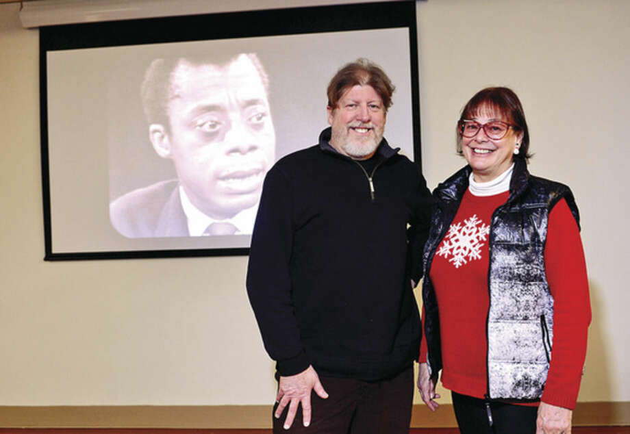 "Hour photo / Erik Trautmann Co-Producers Karen Thorsen and Douglas K. Dempsey, former Norwalk residents who worked with Mr. Baldwin before his death in 1987, discuss their newly-restored documentary film classic, ""JAMES BALDWIN: THE PRICE OF THE TICKET"" Saturday at the South Norwalk Branch Library. The premeire was scheduled in honor of Baldwin's 90th birthday and the anniversaries of significant Civil Rights milestones this year."