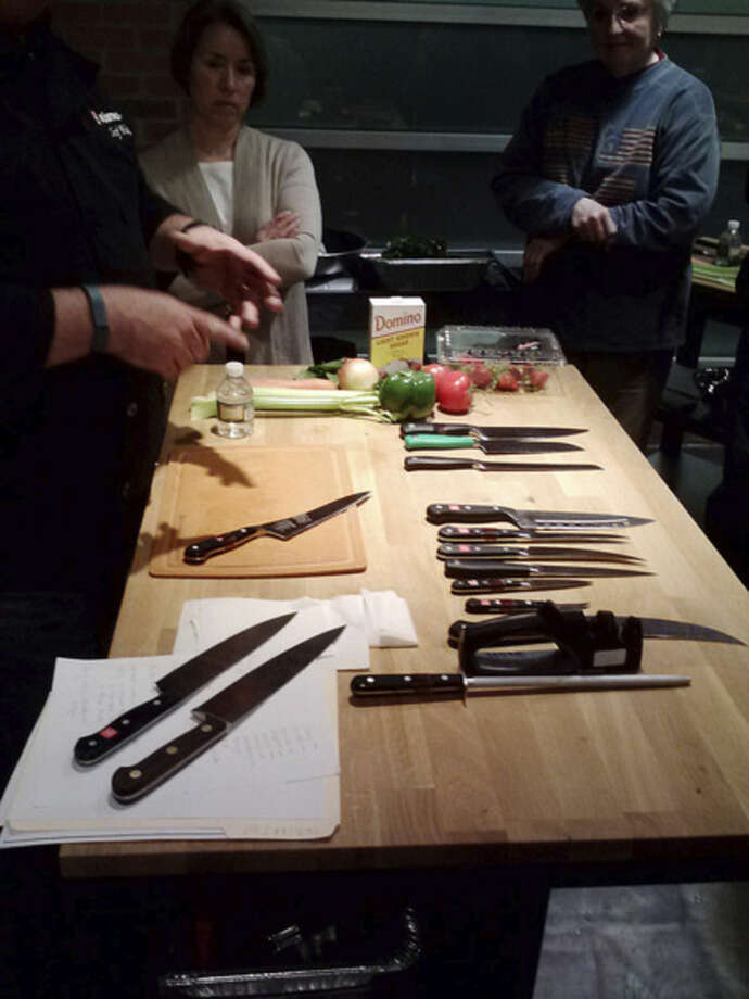 Photo by Frank WhitmanKnives on display at Wusthof for a cooking class.