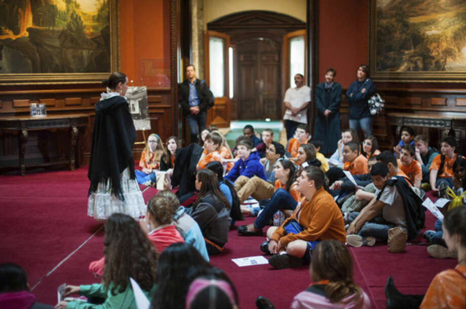 Trisha Keeler PhotographyStudents from Nathan Hale Middle School attend an Education Program session at the Lockwood-Mathews Mansion Museum.