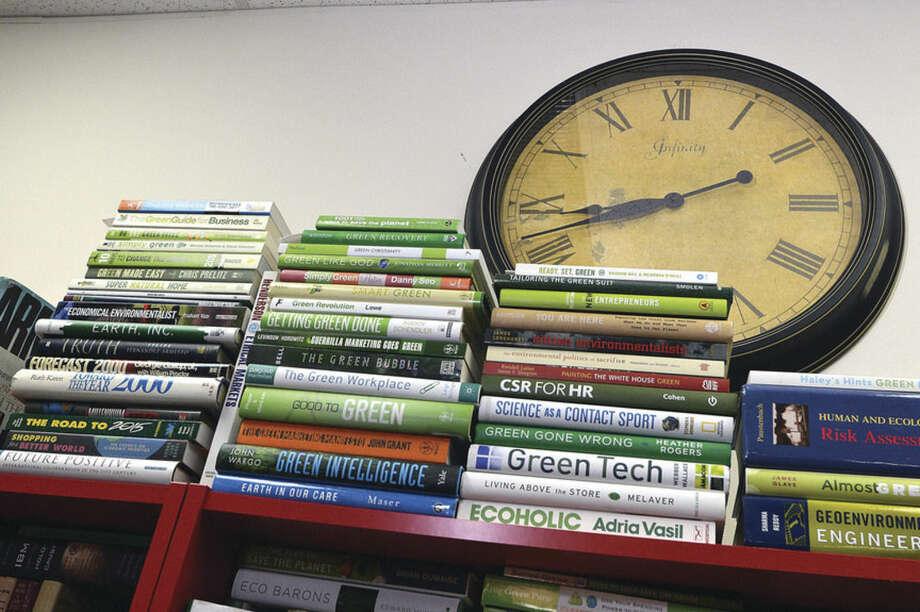 "Hour Photo/Alex von Kleydorff Just some of the ""green"" books offered at Aquarium Steampunk Reading room"