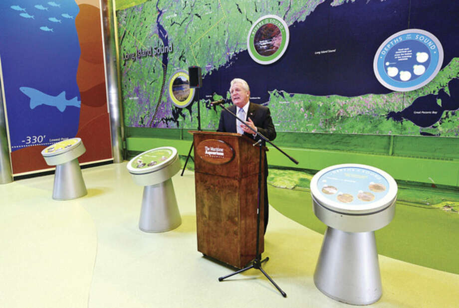 Hour photo / Erik Trautmann Norwalk Mayor Harry Rilling speaks at a press conference announcing a new free summer program at The Maritime Aquarium for 7th- and 8th-graders in Norwalk Public Schools that is funded by the Norwalk Energy Efficiency Challenge.