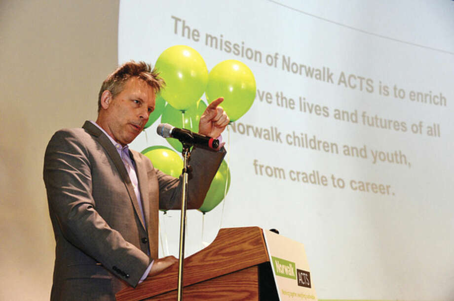Hour photo / Erik Trautmann Norwalk ACTS Executive Director Anthony Allison holds press conference at Stepping Stones Museum for Children Tuesday to announce the release of their Cradle-to-Career Baseline Report. The report which represents over 100 individuals and organizations speaks to the current state of Norwalk's children.