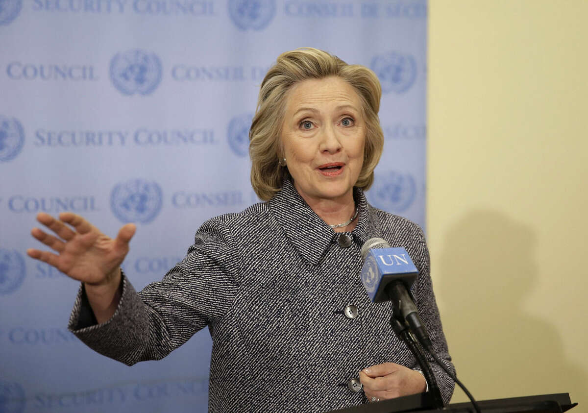 """AP Photo/Seth Wenig Hillary Rodham Clinton speaks to the reporters at United Nations headquarters, Tuesday, March 10. Clinton conceded Tuesday that she should have used a government email to conduct business as secretary of state, saying her decision was simply a matter of """"convenience."""""""