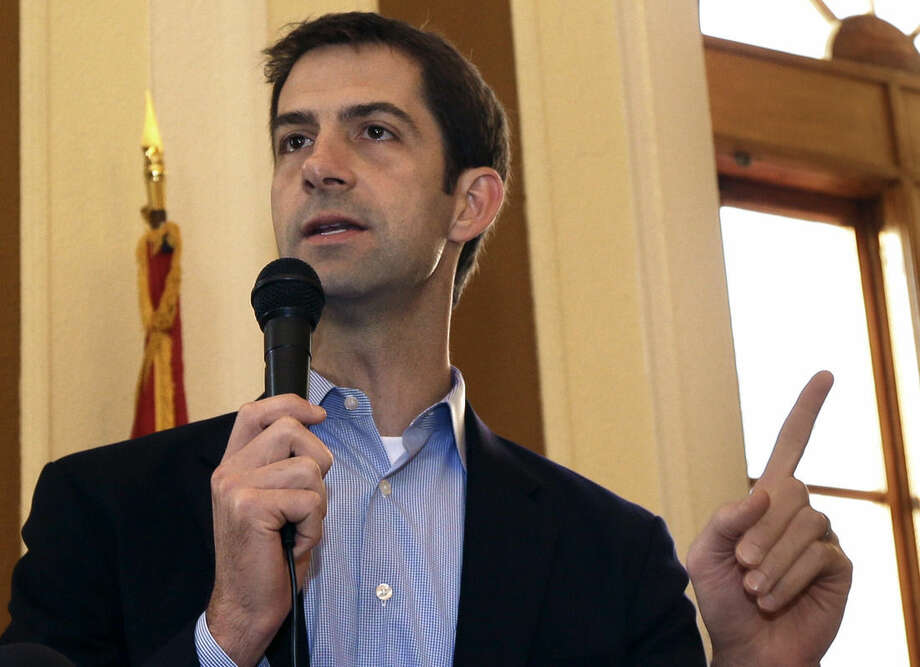 FILE - In this Oct. 31, 2014 file photo, then-Rep., now Sen. Tom Cotton, R-Ark, speaks in Jonesboro, Ark. The man leading the effort to torpedo an agreement with Iran is a rookie Republican senator, an Army veteran with a Harvard law degree and a long record of tough rhetoric against President Barack Obama's foreign policy. Cotton's previous forays into foreign policy raised as many hackles as the letter he authored this week lecturing Iran's leaders on American democracy. This time, 46 fellow Republicans signed onto the document. (AP Photo/Danny Johnston, File)
