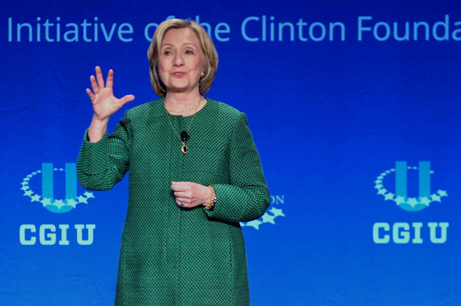 Former Secretary of State Hillary Rodham Clinton speaks at a university conference sponsored by the Clinton Global Initiative at the University of Miami, Saturday, March 7, 2015, in Coral Gables, Fla. (AP Photo/Gaston De Cardenas)