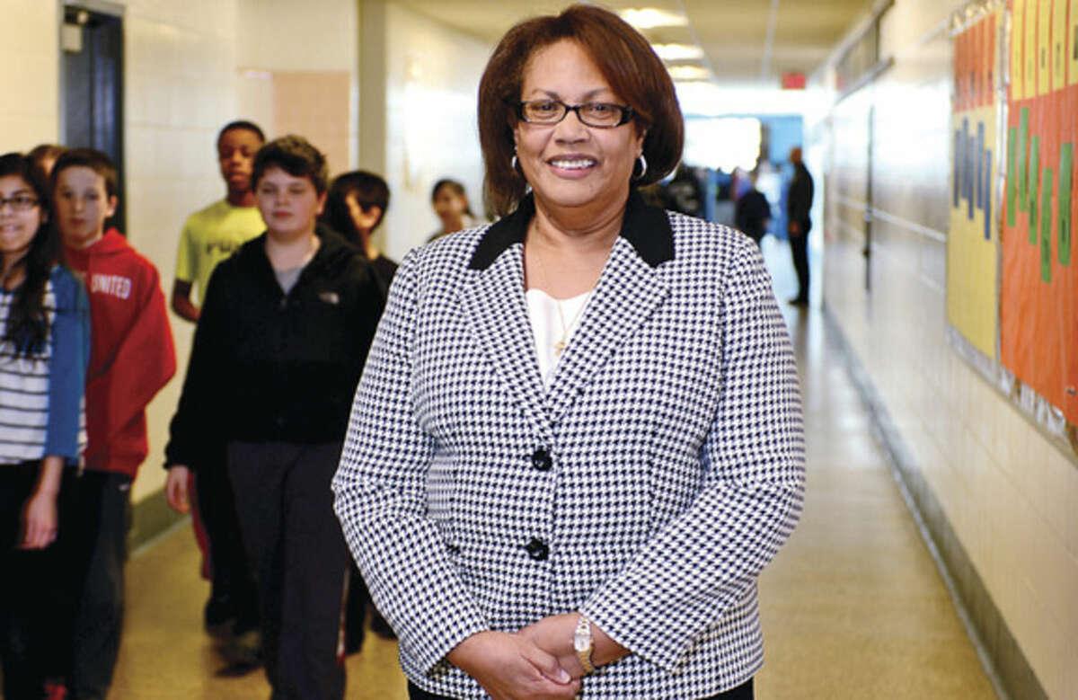 Hour photo / Erik Trautmann Linda Sumpter, principal of Ponus Ridge Middle School, will retire in June after 15 years.