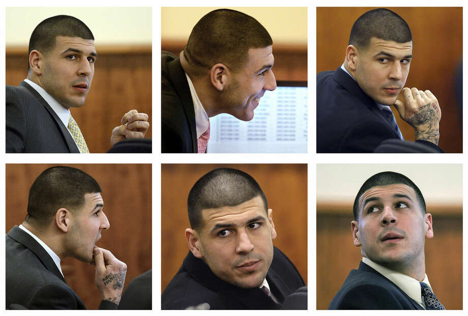 FILE - In this panel of 2015 file photos, former New England Patriots football player Aaron Hernandez sits in court during his murder trial in Fall River, Mass. Hernandez is charged with killing semiprofessional football player Odin Lloyd. Hernandez still flashes swagger and a smile during his trial. For the most part, he has appeared to pay close attention to what happened in the courtroom, even when it was dry and technical. On days when his relatives attend, Hernandez turns on the charm. (AP Photo/Pool, File)