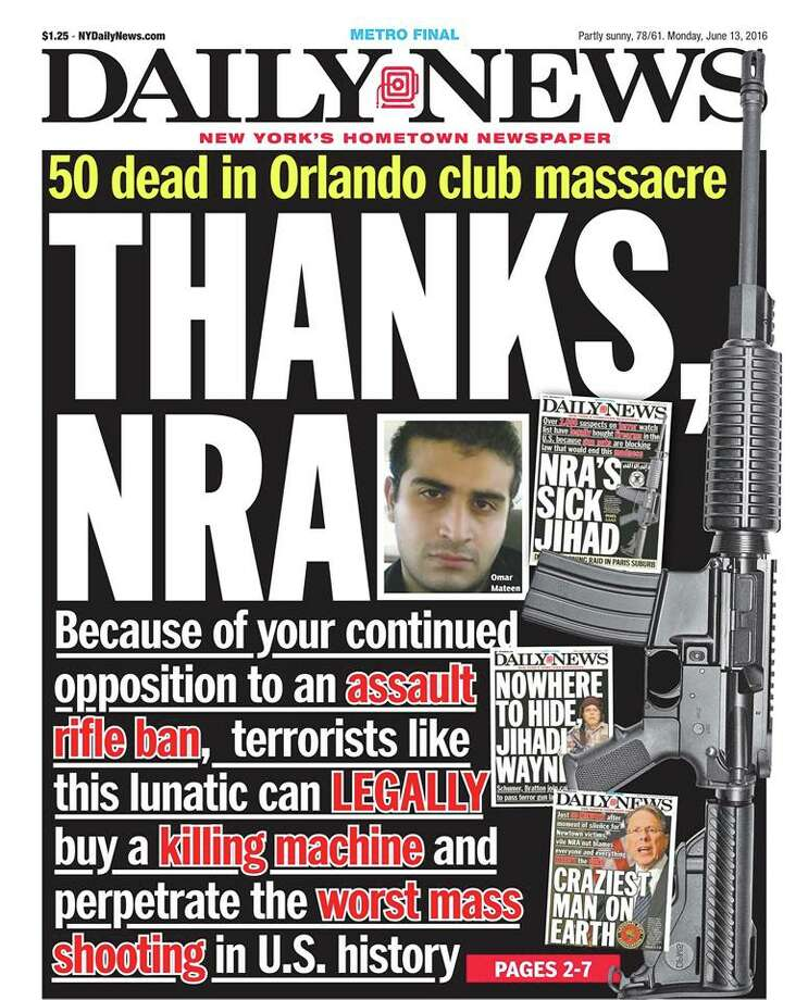 Newspaper front pages on June 13, 2016, the day after the Orlando shooting Photo: JEVANS/Daily News
