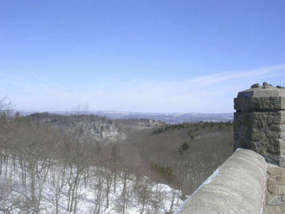 Photo by Rob McWilliamsLooking southeast from the stone tower at Sleeping Giant.