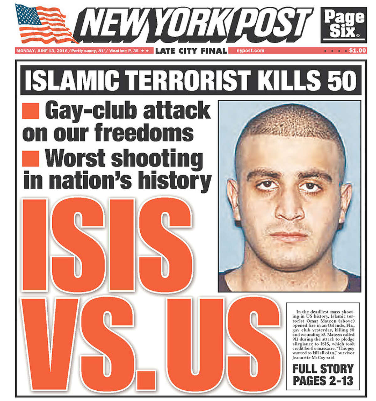 Newspaper front pages on June 13, 2016, the day after the Orlando shooting