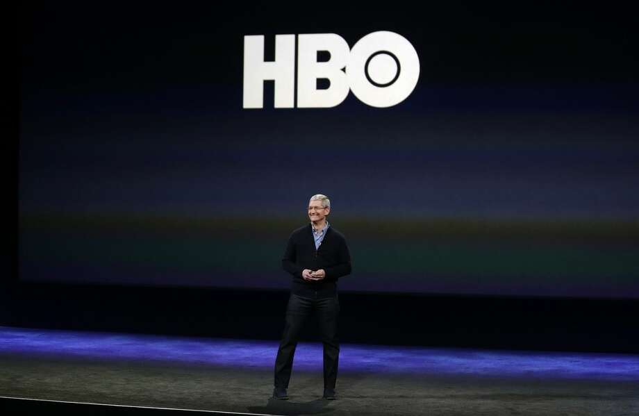 Apple CEO Tim Cook talks about HBO during an Apple event on Monday, March 9, 2015, in San Francisco. (AP Photo/Eric Risberg)