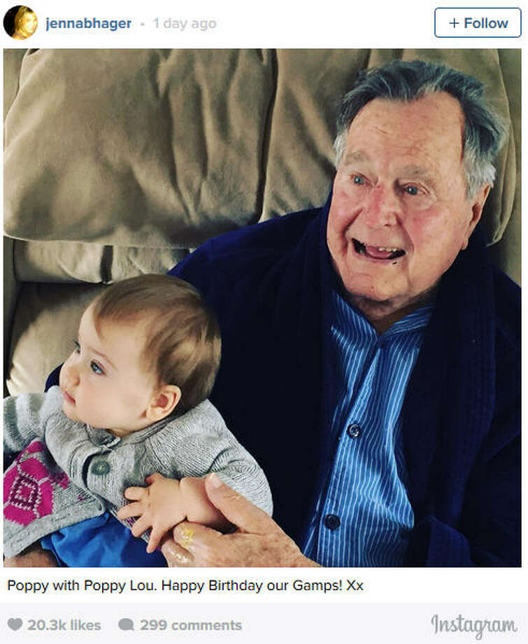 George H W Bush Spends 92nd Birthday With Young Great