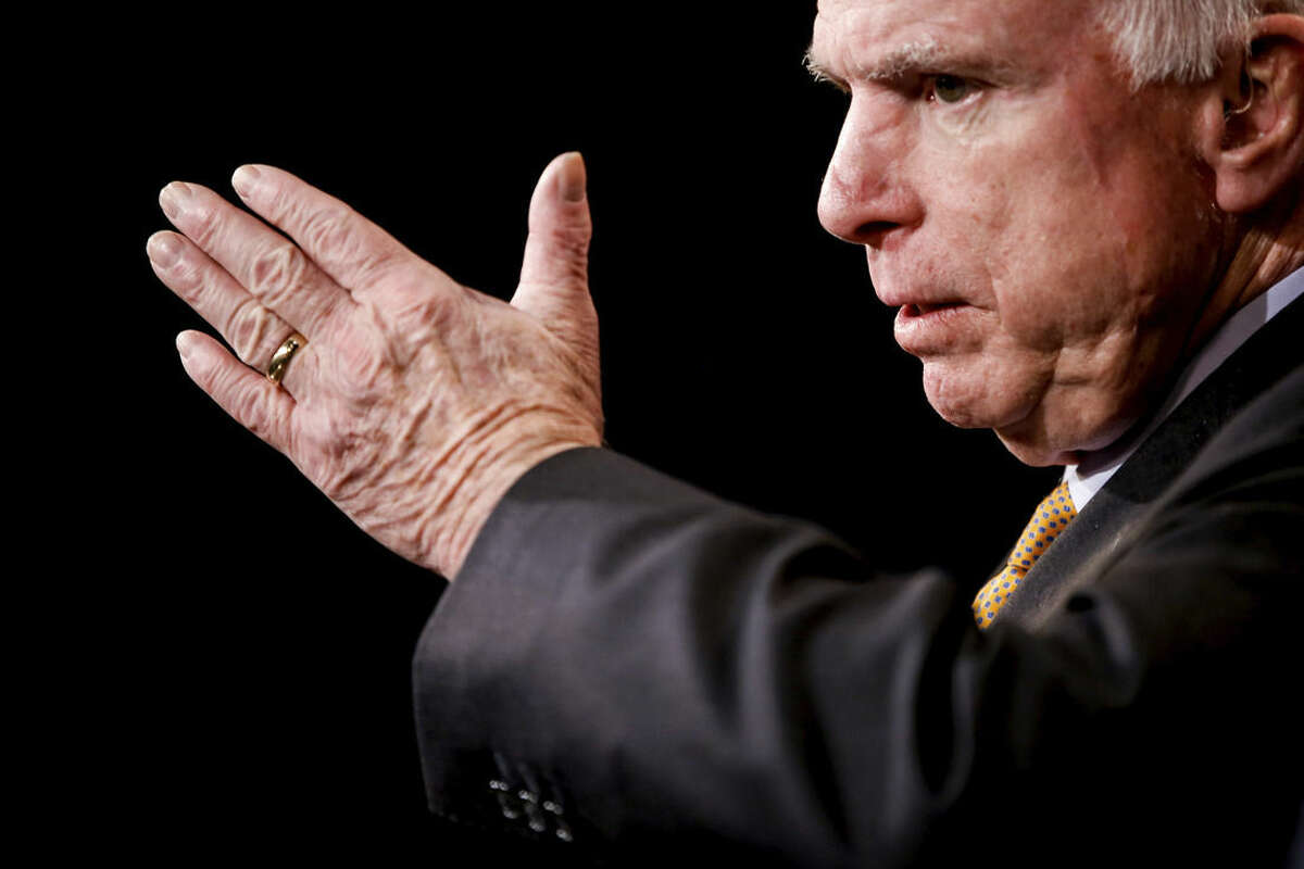 Senate Armed Services Committee Chairman Sen. John McCain, R-Ariz. speaks during a news conference on Capitol Hill in Washington, Thursday, March 26, 2015, to talk abour the situation in Yemen. (AP Photo/Andrew Harnik)