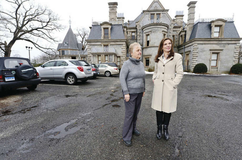 Hour photo / Erik Trautmann Lockwood Mathews Mansion Museum Board Chair, Patsy Brescia, and Executive Director, Susy Gilgore, are unconcerned by talk proposing paid parking at Mathews Park. are General Growth Properties'proposal mall stands to push parking at nearby Mathews Park, Stepping Stones Museum for Children and Devon's Place from free to paid.