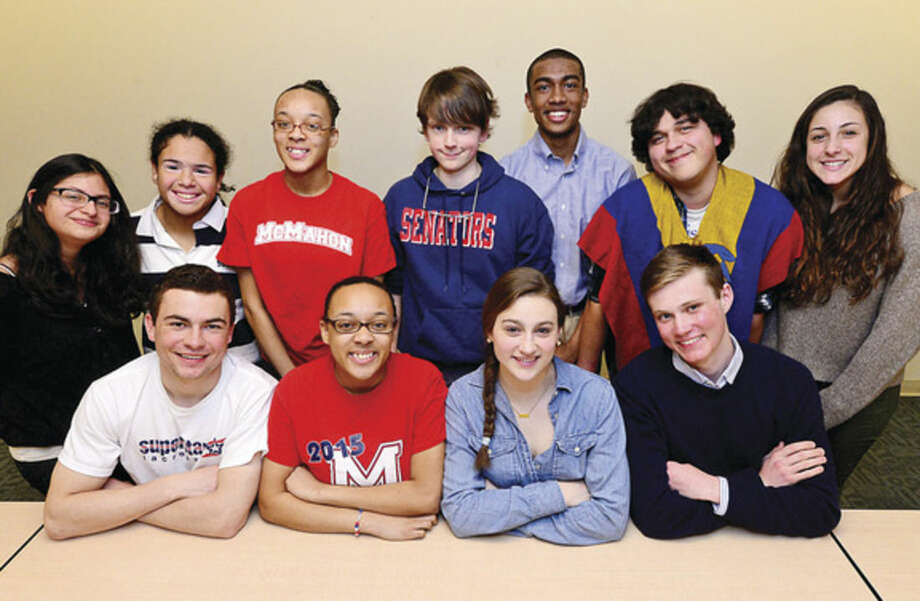 Hour photo/Erik TrautmannThe top academic seniors in Brien McMahon's Class of 2015; clockwise from left: Maria Alegria, Gabrielle Ganino, Taylor Duhart, Taber McFarlan, Edwin Owolo, Juan Arenas, Olivia Clark, Tom Skiper, Olivia Haskell, Kimberly Duhart and Chris Gatt.