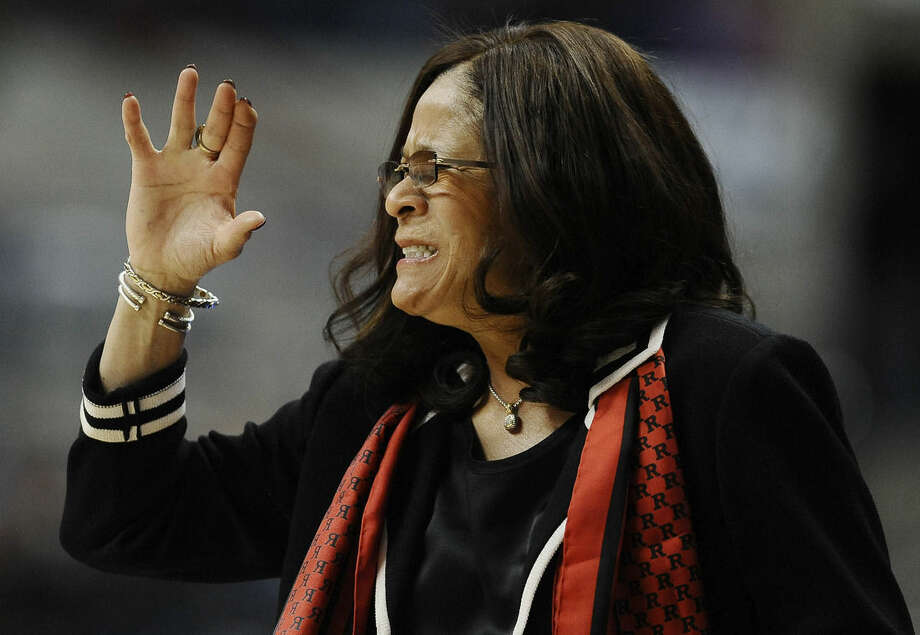 Rutgers head coach C. Vivian Stringer reacts during the first half of a college basketball game against Connecticut in the second round of the NCAA tournament, Monday, March 23, 2015, in Storrs, Conn. (AP Photo/Jessica Hill)