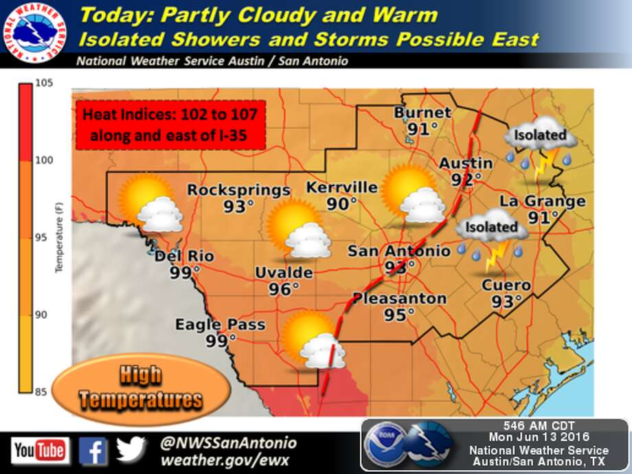 San Antonio will see temperatures in the 90s throughout the week, according to the National Weather Service. Photo: National Weather Service