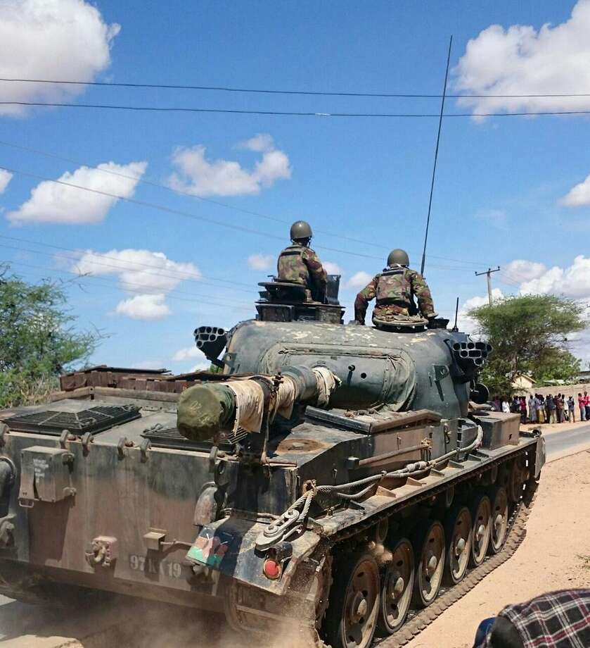 Kenya Defence Forces tank drives outside the Garissa university college, Thursday, April 2, 2015. Al-Shabab gunmen attacked Garissa University College in northeast Kenya early Thursday, targeting Christians and killing at least 15 people and wounding 60 others, witnesses said. (AP Photo).(AP Photo)