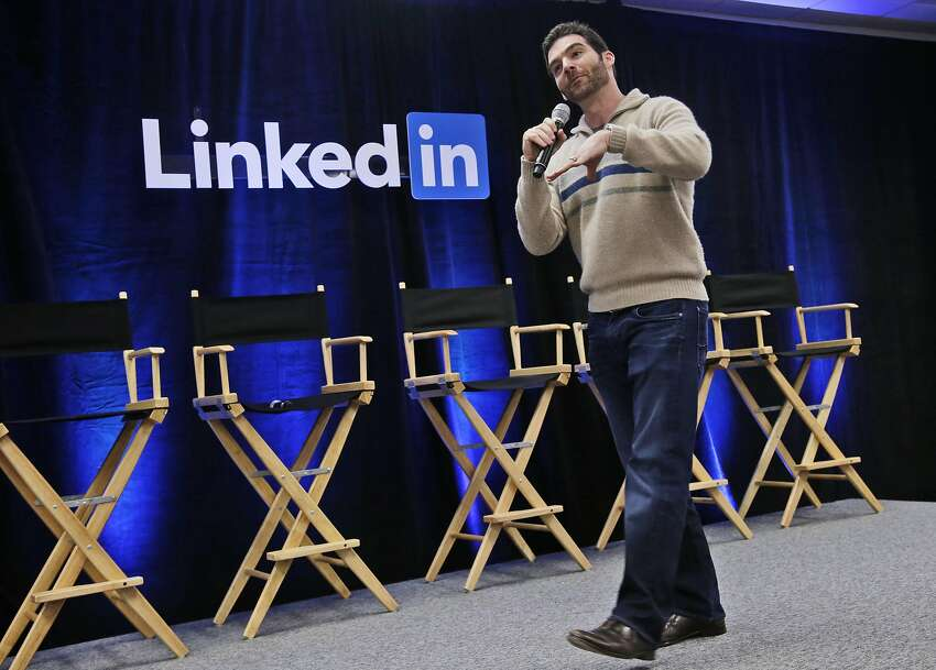FILE - In this Nov. 6, 2014, file photo, LinkedIn CEO Jeff Weiner speaks during the company's second annual