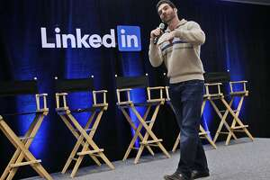 "FILE - In this Nov. 6, 2014, file photo, LinkedIn CEO Jeff Weiner speaks during the company's second annual ""Bring In Your Parents Day,"" at LinkedIn headquarters in Mountain View, Calif. LinkedIn reports quarterly financial results on Thursday, July 30, 2015. (AP Photo/Marcio Jose Sanchez, File)"