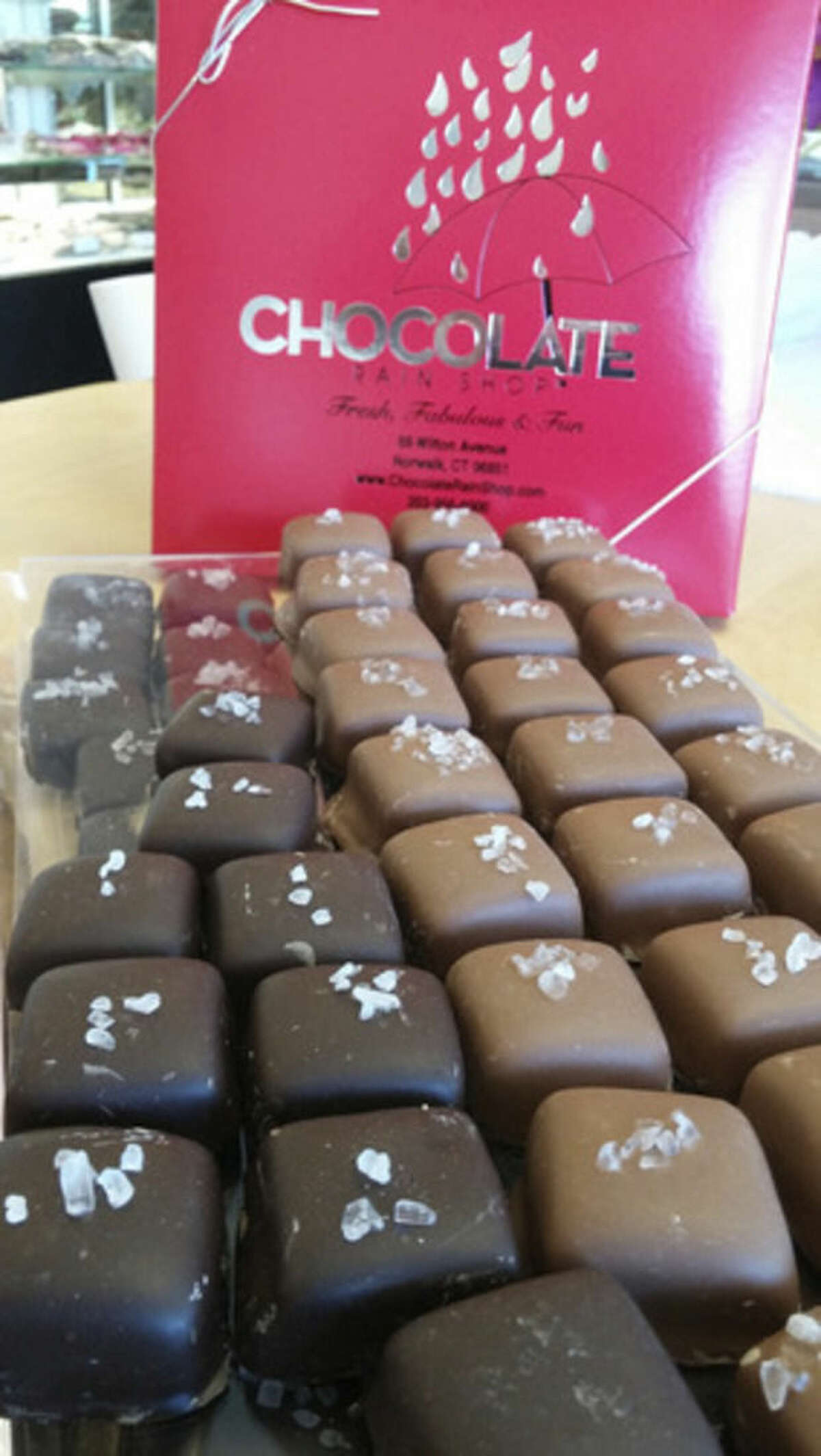 Photo by Frank Whitman Salted caramels at Chocolate Rain in Norwalk.