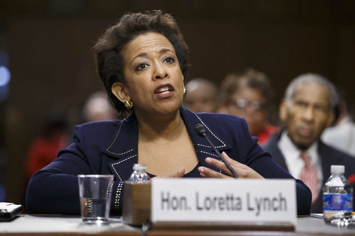 FILE - In this Jan. 28, 2015 file photo, Attorney General nominee Loretta Lynch testifies on Capitol Hill in Washington. Lynch has won confirmation to serve as the nation's attorney general, ending months of delay. The vote was 56-43 in the Senate Thursday. (AP Photo/J. Scott Applewhite)
