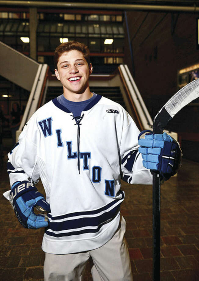 Hour photo/Erik TrautmannThe Hour's All-Area Ice Hockey MVP Kyle Jonas of Wilton High School had a senior year to remember for the Warriors.