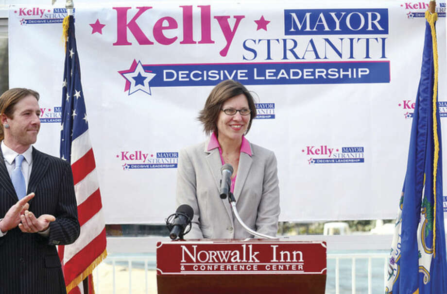 Hour photo / Erik Trautmann Republican Kelly Straniti announces her acndidacy for mayor of Norwalk Saturday at the Norwalk Inn.