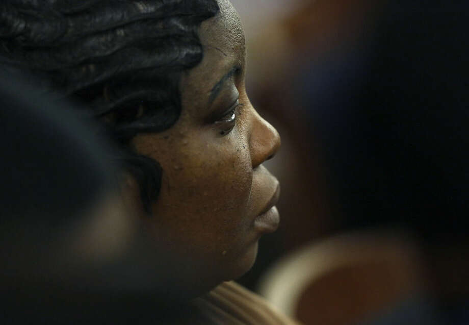 Ursula Ward, mother of fatal shooting victim Odin Lloyd, listens during the jury deliberation phase in the murder trial for former New England Patriots NFL football player Aaron Hernandez, Thursday, April 9, 2015, in Fall River, Mass. Hernandez is charged with killing Lloyd. (AP Photo/Steven Senne, Pool)